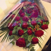 24 Luxury Red Roses -  Flat Bouquet